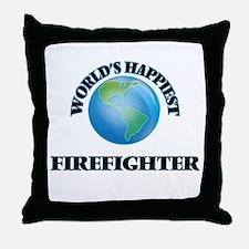 World's Happiest Firefighter Throw Pillow