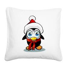 Penguin Santa Square Canvas Pillow