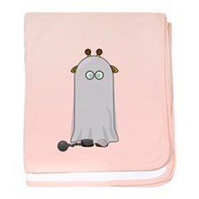 Giraffe dressed up as Ghost baby blanket