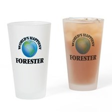 World's Happiest Forester Drinking Glass