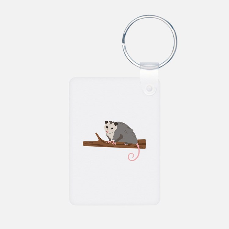 Opossum on Branch Keychains