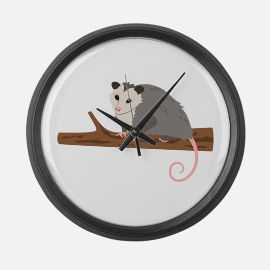 Opossum on Branch Large Wall Clock