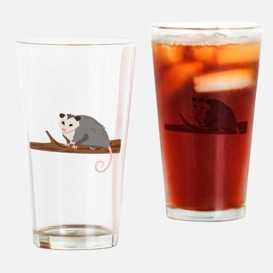 Opossum on Branch Drinking Glass
