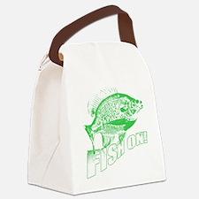Bluegill Fish on Green Canvas Lunch Bag
