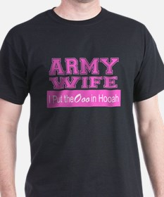 Army Wife Ooo in Hooah_Pink T-Shirt