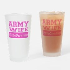 Army Wife Ooo in Hooah_Pink Drinking Glass