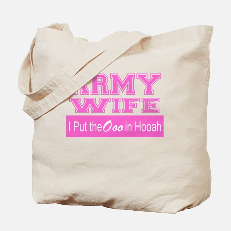 Army Wife Ooo in Hooah_Pink Tote Bag