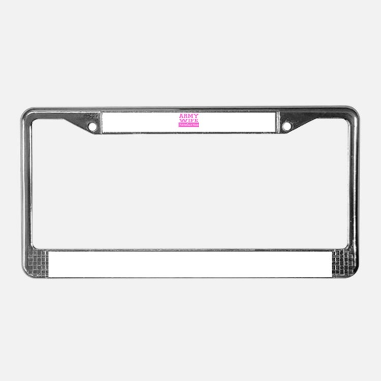 army wife ooo in hooah_pink license plate frame