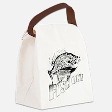 Bluegill Fish on black Canvas Lunch Bag