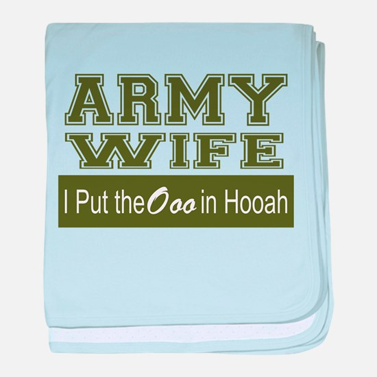 Army Wife Ooo in Hooah_Green baby blanket