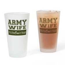 Army Wife Ooo in Hooah_Green Drinking Glass