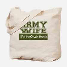 Army Wife Ooo in Hooah_Green Tote Bag