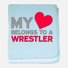 My Heart Belongs to A Wrestler baby blanket
