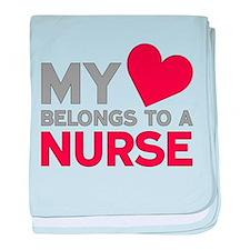 My Heart Belongs to A Nurse baby blanket