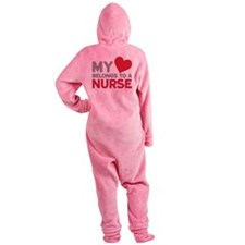 My Heart Belongs to A Nurse Footed Pajamas