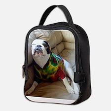 French Bulldog in Tie Dye Neoprene Lunch Bag
