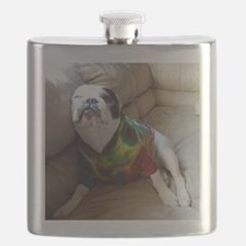 French Bulldog in Tie Dye Flask