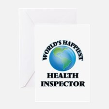 World's Happiest Health Inspector Greeting Cards