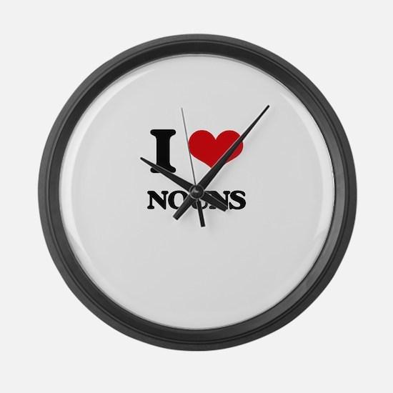 I Love Nouns Large Wall Clock