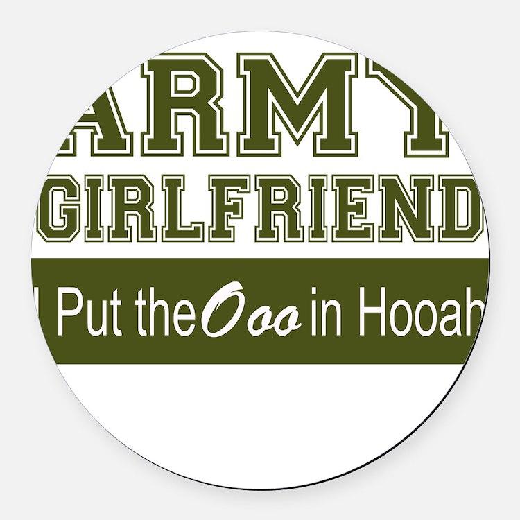 Cute Army girlfriend Round Car Magnet