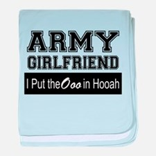 Army Girlfriend Ooo in Hooah_Black baby blanket