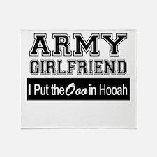 Army Girlfriend Ooo in Hooah_Black Throw Blanket