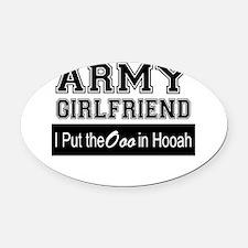Army Girlfriend Ooo in Hooah_Black Oval Car Magnet