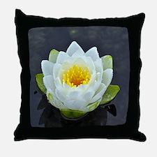Single white water lily Throw Pillow
