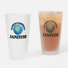 World's Happiest Janitor Drinking Glass