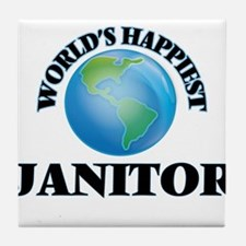 World's Happiest Janitor Tile Coaster