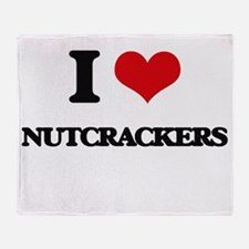 I Love Nutcrackers Throw Blanket
