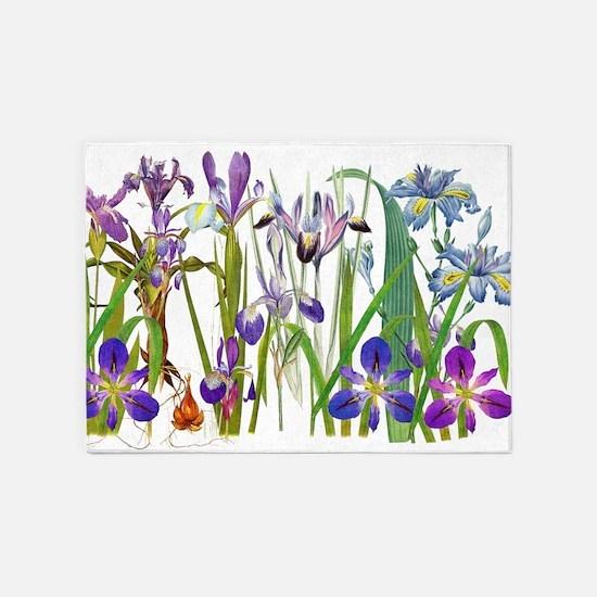 Iris Flowers Floral Botanical Garden 5'x7'Area Rug