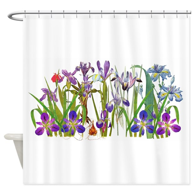 Iris Flowers Floral Botanical Shower Curtain By