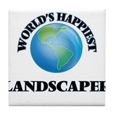 World's Happiest Landscaper Tile Coaster