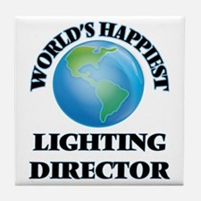 World's Happiest Lighting Director Tile Coaster