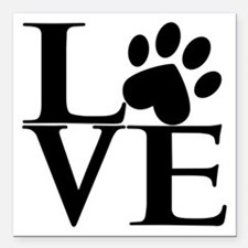 "Animal LOVE Square Car Magnet 3"" x 3"""