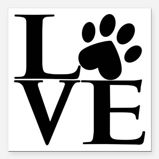 "Animal LOVE Square Car Magnet 3"" x 3"""