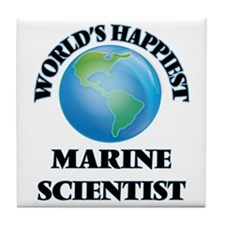 World's Happiest Marine Scientist Tile Coaster