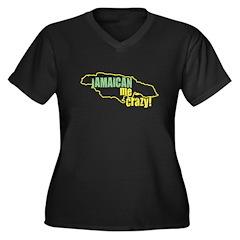 Jamaican Me Crazy Women's Plus Size V-Neck Dark T-