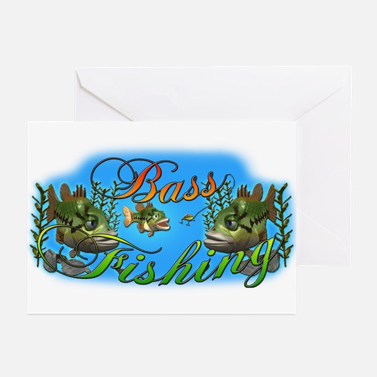 Bass Fishing Greeting Cards (Pk of 10)