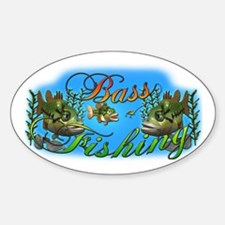 Bass Fishing Oval Decal