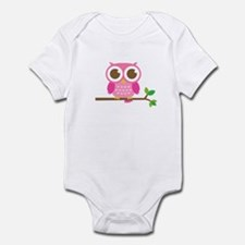 Cute Girly Pink Owl on Branch Body Suit