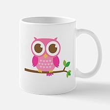 Cute Girly Pink Owl on Branch Mugs