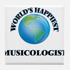 World's Happiest Musicologist Tile Coaster