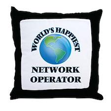 World's Happiest Network Operator Throw Pillow