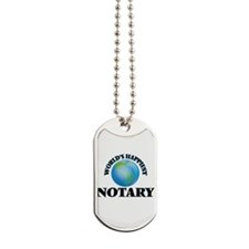 World's Happiest Notary Dog Tags