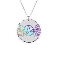 Colorful Pentacle Necklace Circle Charm