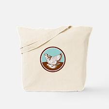 Prairie Chicken Retro Circle Tote Bag