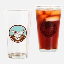 Prairie Chicken Retro Circle Drinking Glass