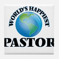 World's Happiest Pastor Tile Coaster